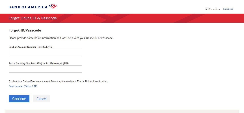 Forgot Online ID Passcode