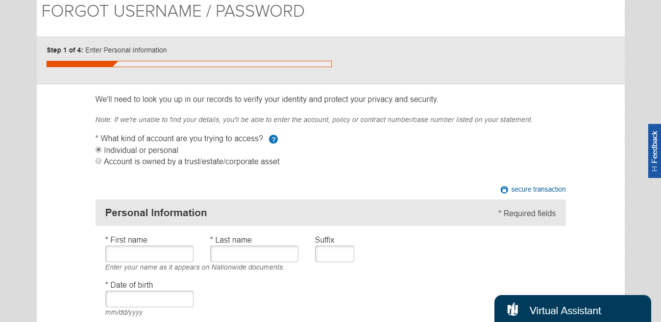 Forgot Username Password