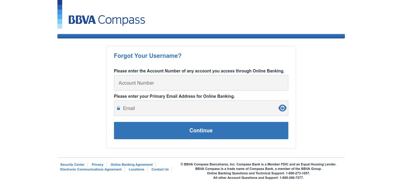 Forgot Your Username BBVA Compass
