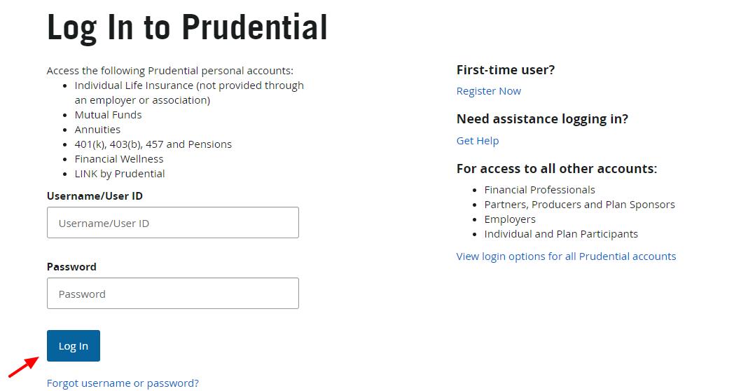 Log In Prudential