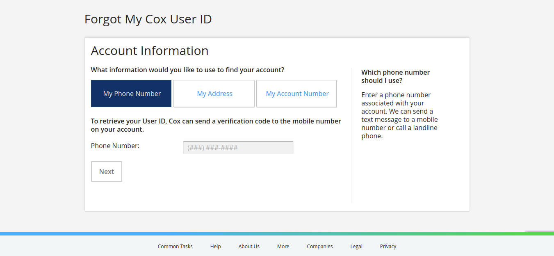My Profile Cox Communications Forgot