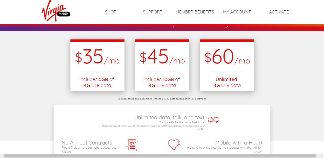 Plans Virgin Mobile