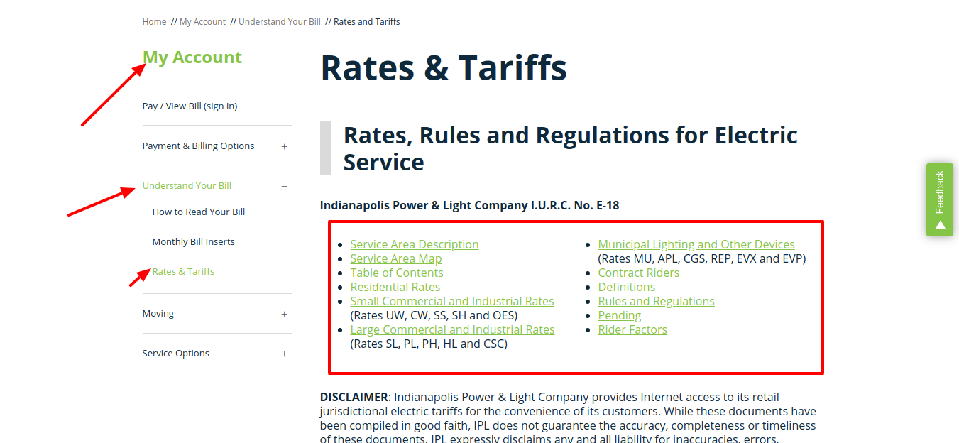 Rates and Tariffs