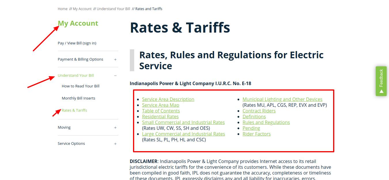 Rates and Tariffs