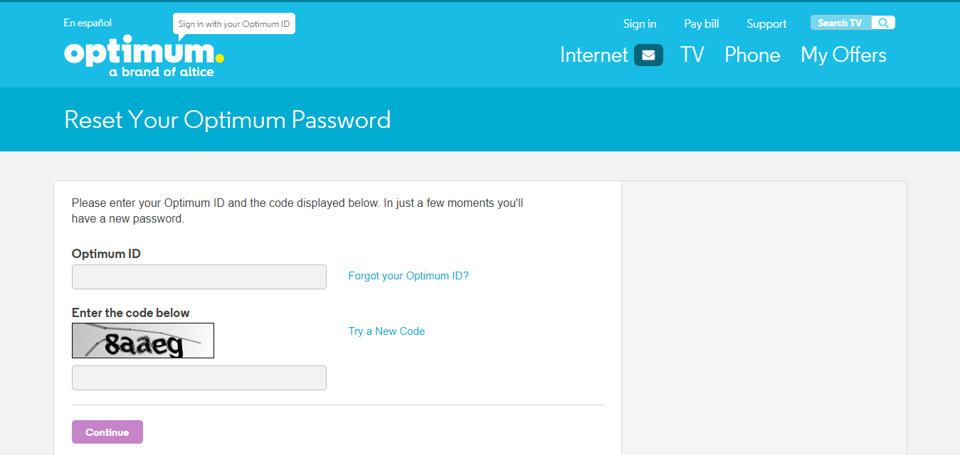 Reset Your Optimum Password Optimum