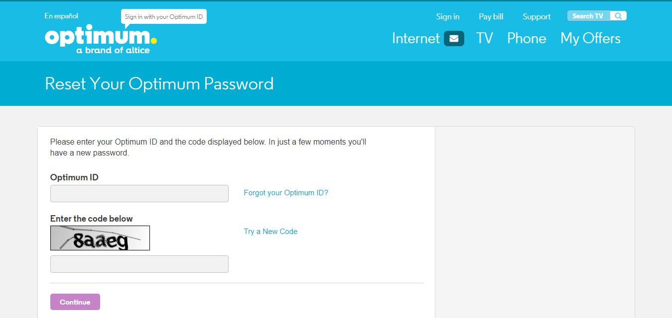 Reset Your Optimum Password Optimum