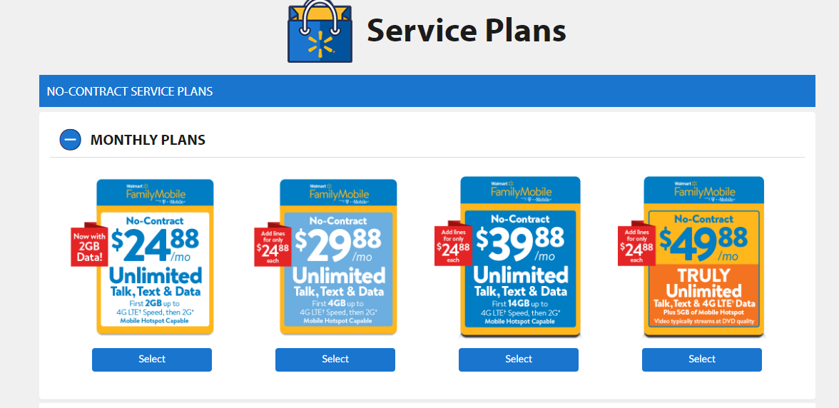 Shop Our Monthly Phone Plans Add Ons Walmart Family Mobile
