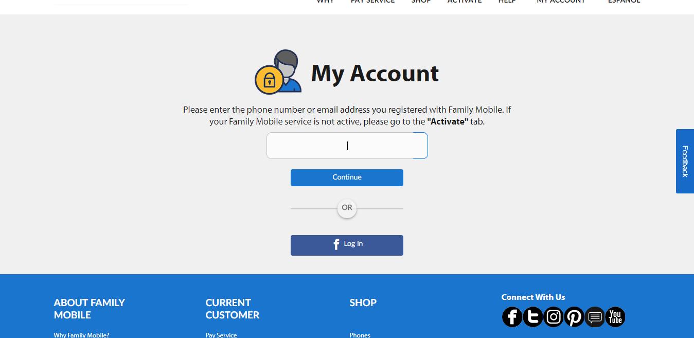 Sign In To Your Account Family Mobile
