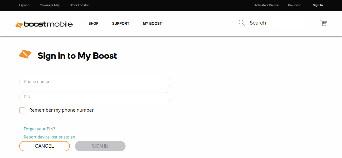 Sign in to My Boost