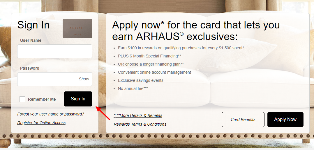 Arhaus Archarge Credit Card Login