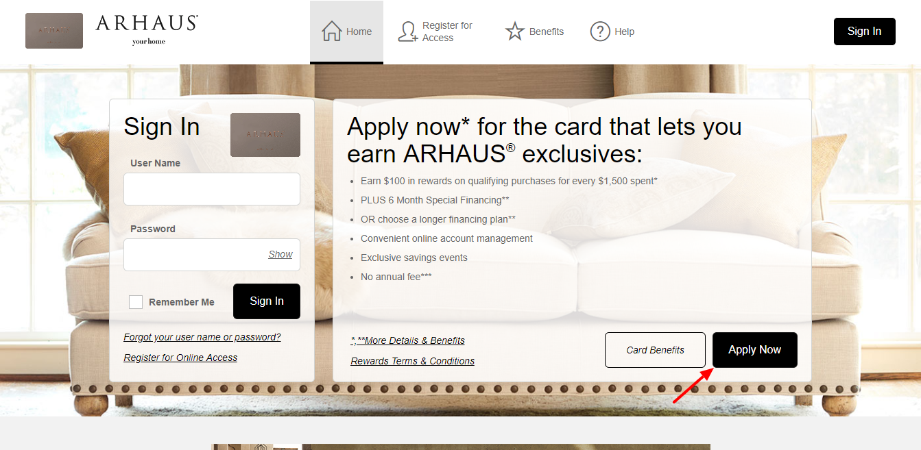 Arhaus Archarge Credit Card Manage your account