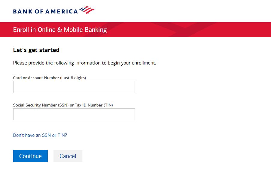 Bank of America Enroll in Online