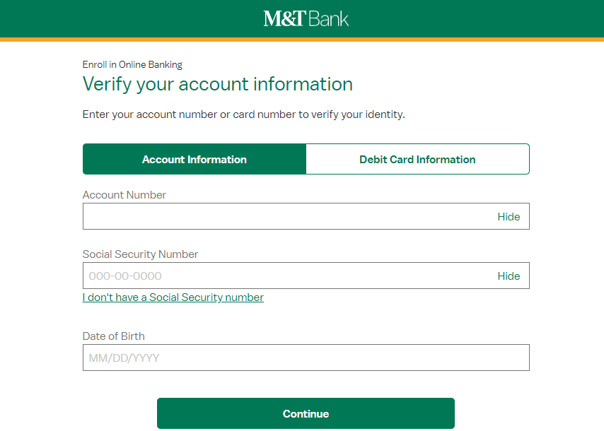 Enroll in Online Banking Verify Account M T Bank
