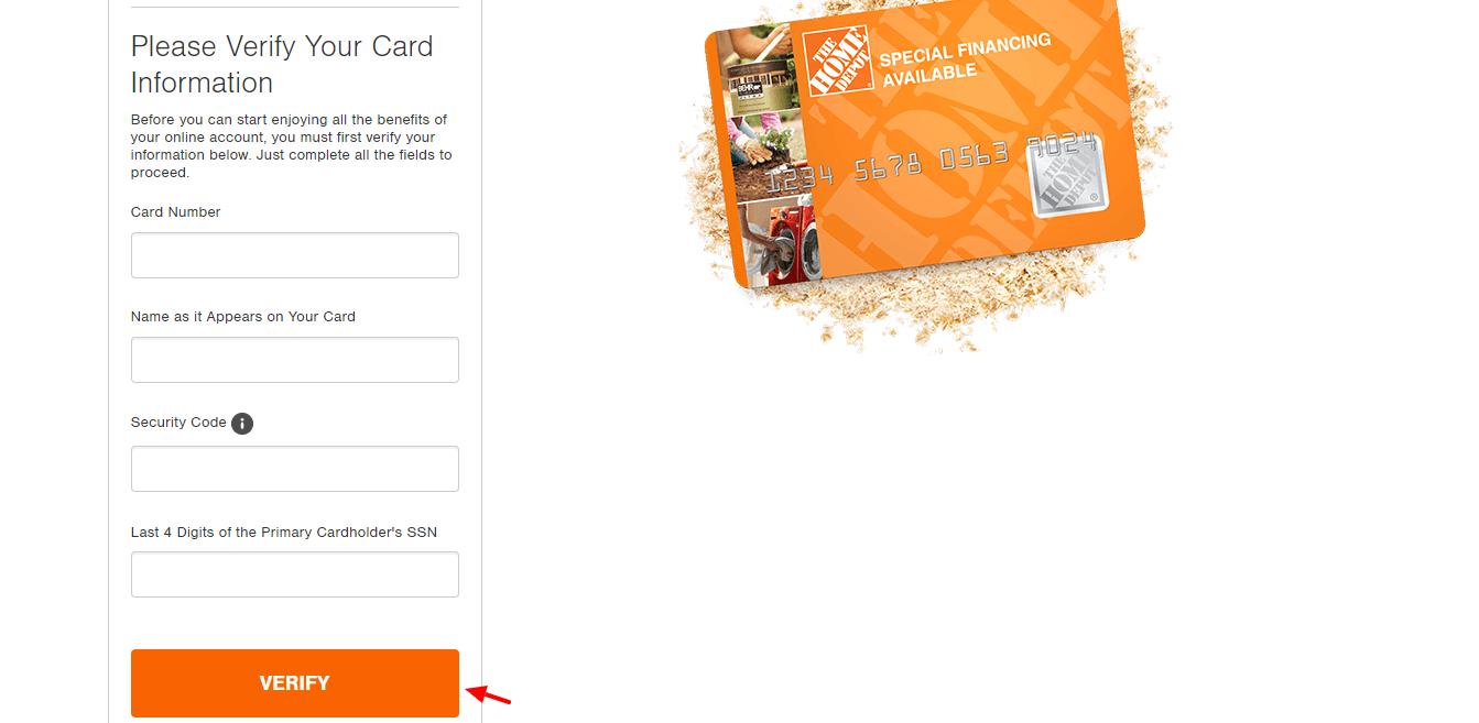 Homedepot Credit Card Registration Verification