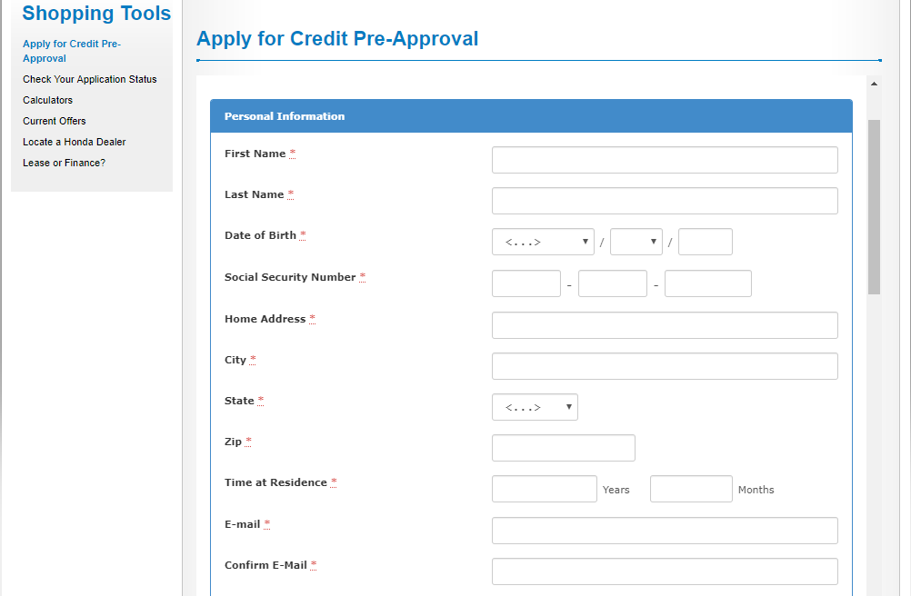 Honda Vehicle Apply for Credit Pre Approval