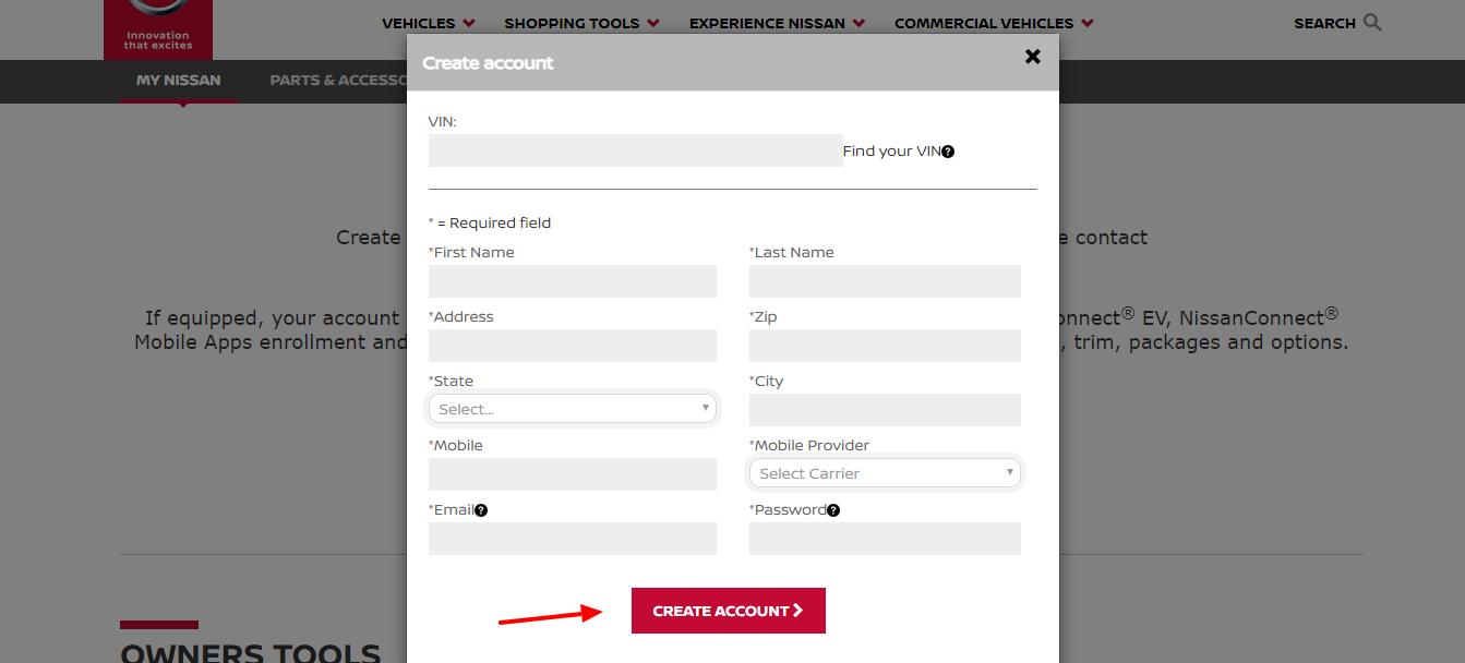 NOP Nissan Create An Account