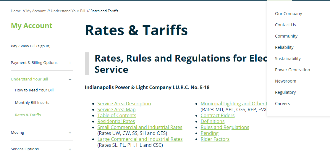 Rates and Tariffs Indianapolis Power Light Company