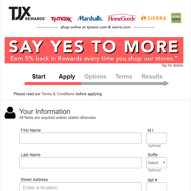 TJX Apply for the TJX Credit Card