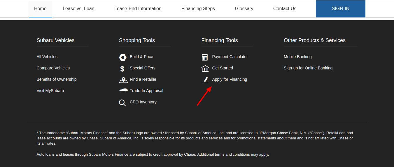 Subaru-Motors-Finance-Chase-apply-financing