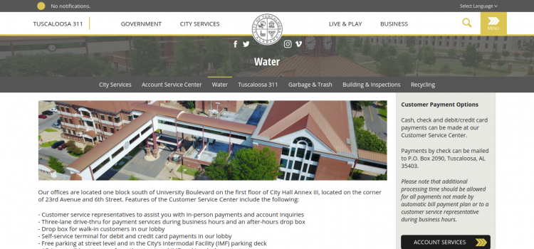 www.tuscaloosa.com/city-services/water – Pay The Tuscaloosa Water Bill Online