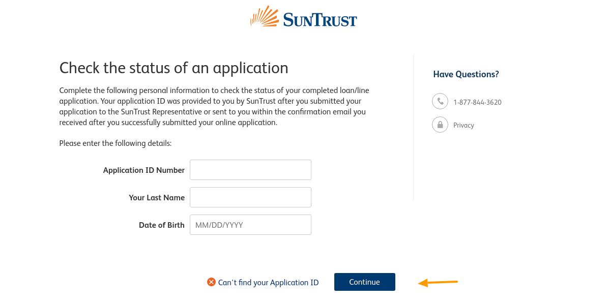suntrust-Application-status