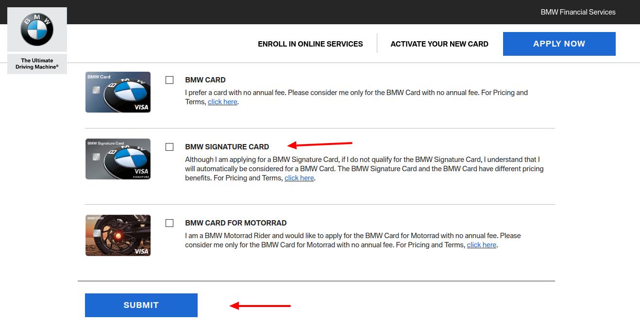 BMW Signature Credit Card