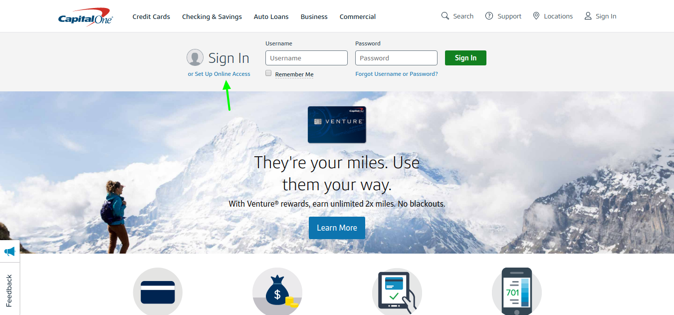Capital One Credit Cards set up for online access