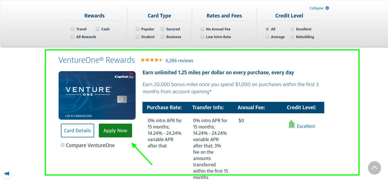 VentureOne Credit Card Apply