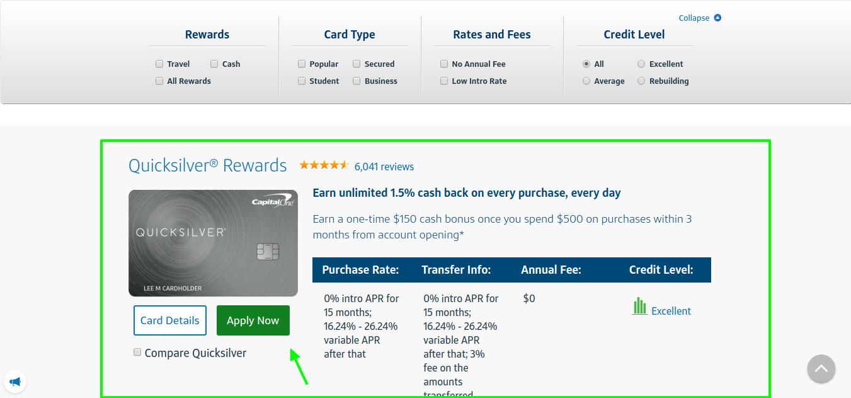 capital on quicksilver rewards card apply