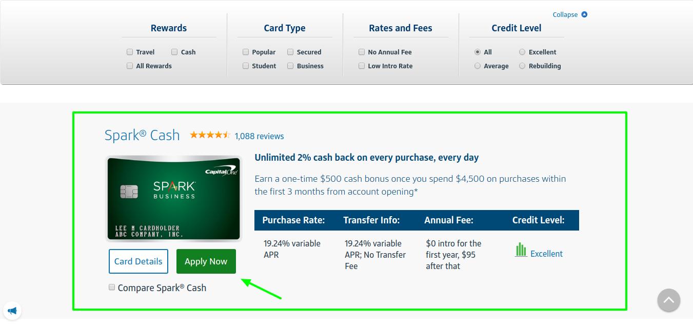 Spark Cash Credit Card Apply