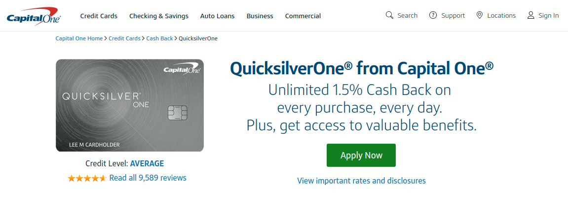 QuicksilverOne reward card logo