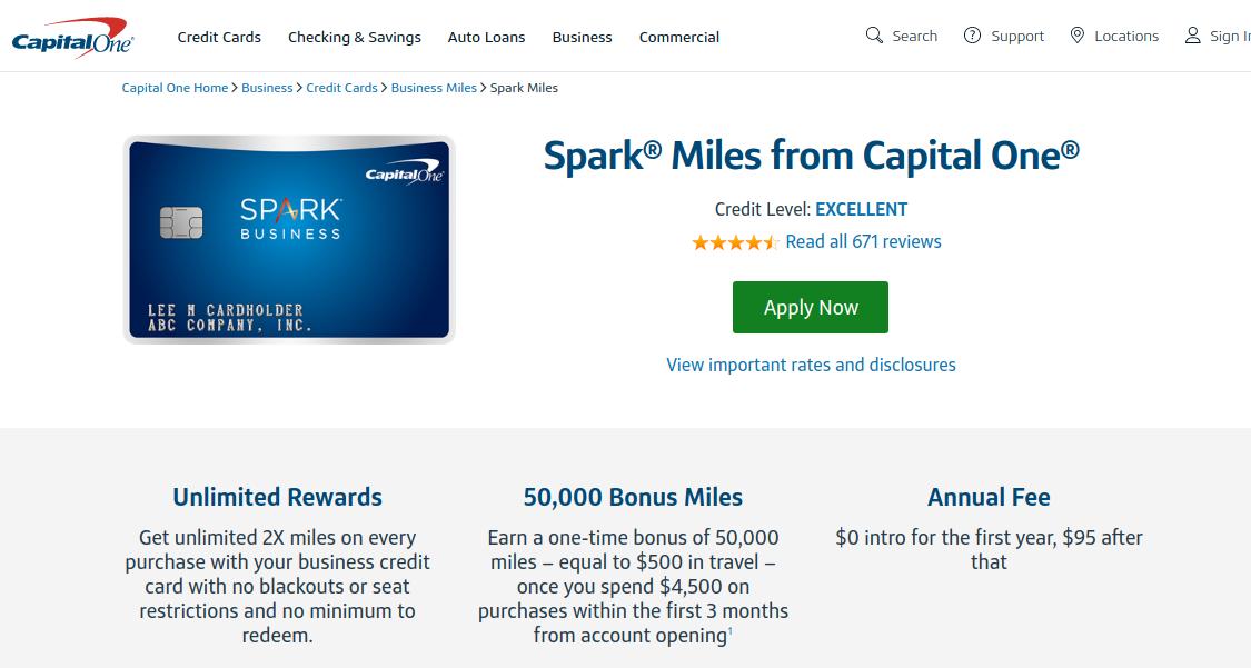 Spark Miles capital one credit card logo