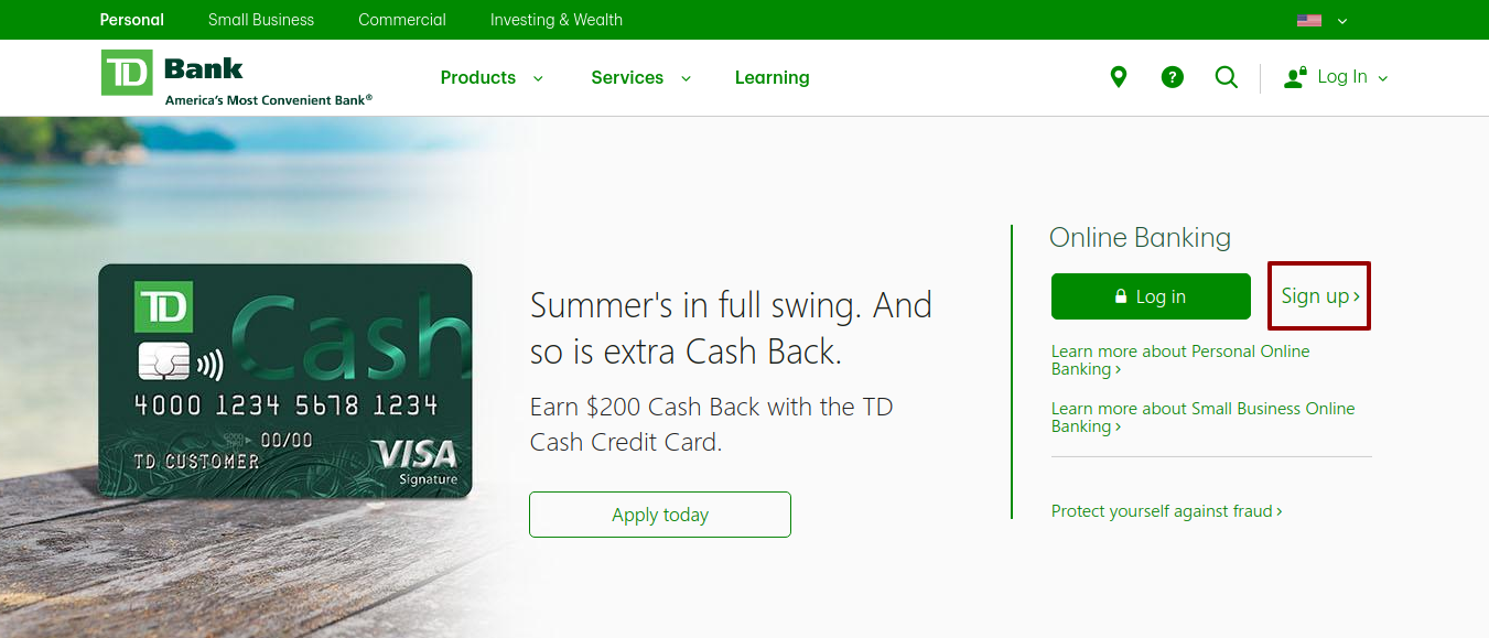 TD Personal sign up