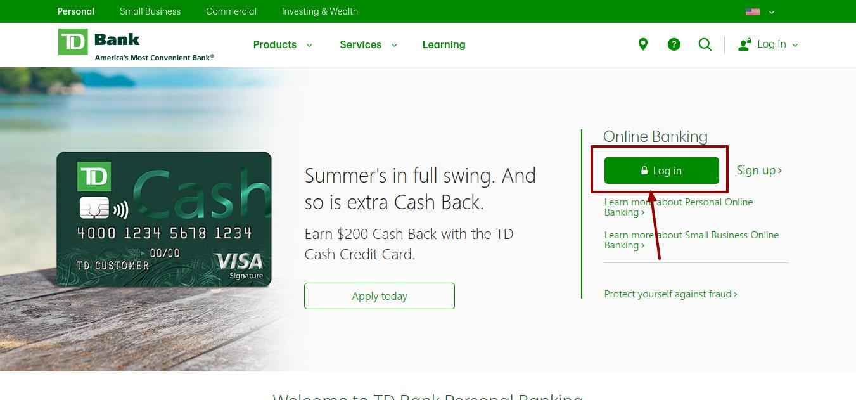 TD Personal Banking, login