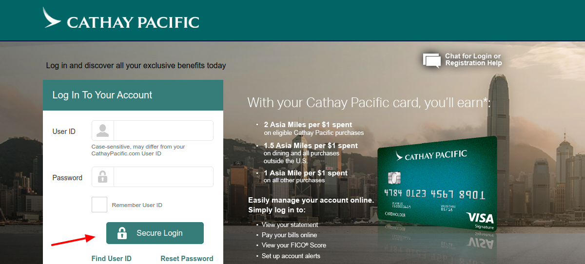 CATHAY PACIFIC Credit Card Login
