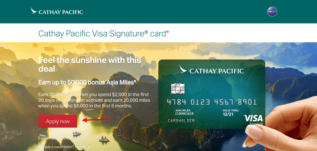 Cathay Pacific Visa Signature Apply