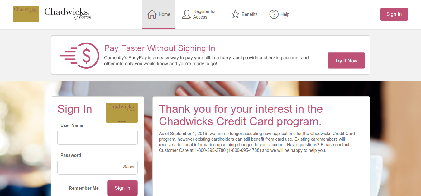 Chadwicks Credit Card Logo