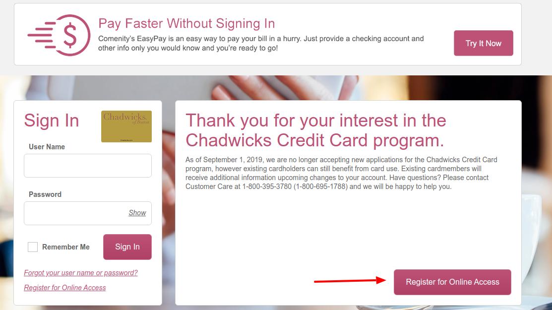 Chadwicks Credit Card Regsiter