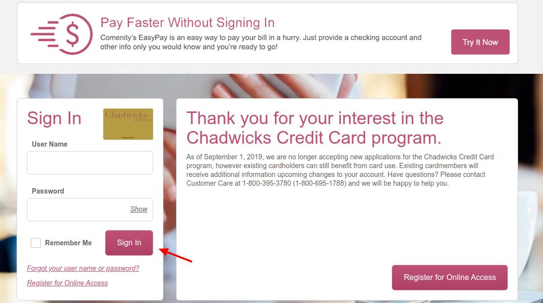 Chadwicks Credit Card Sign In