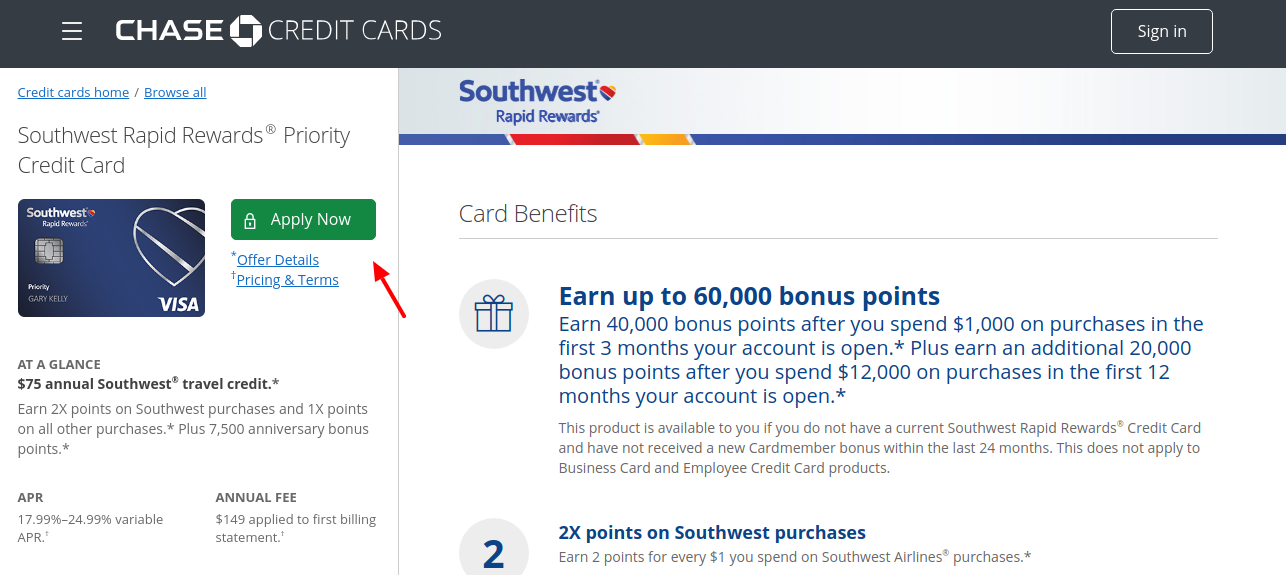 Chase Southwest Rapid Rewards Credit Card Apply