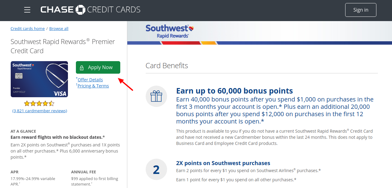 Chase Southwest Rapid Rewards Premier Credit Card Apply