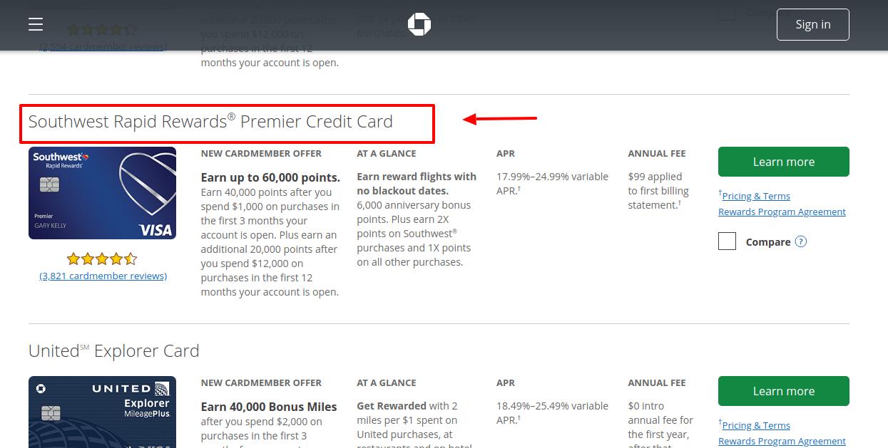 Chase Southwest Rapid Rewards Premier Credit Card