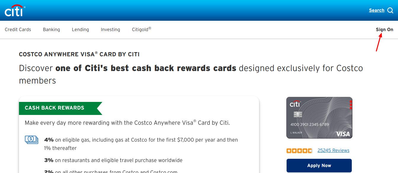 Costco Anywhere Visa Card Login